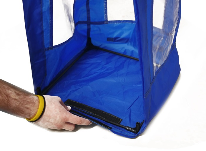 Secure the base to the tent shell with the pre-aligned Velcro strips.