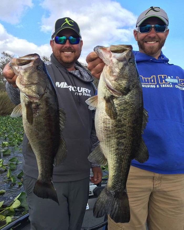 MHX Pros John Cox and Brandon Lester with a couple big bass they caught on MHX blanks.