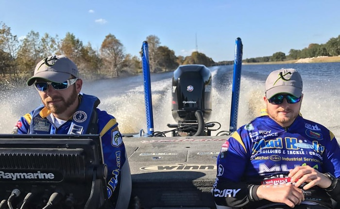 Bassmaster Elite Pros Brandon Lester and Bradley Roy cruising in the signature Mud Hole blue.