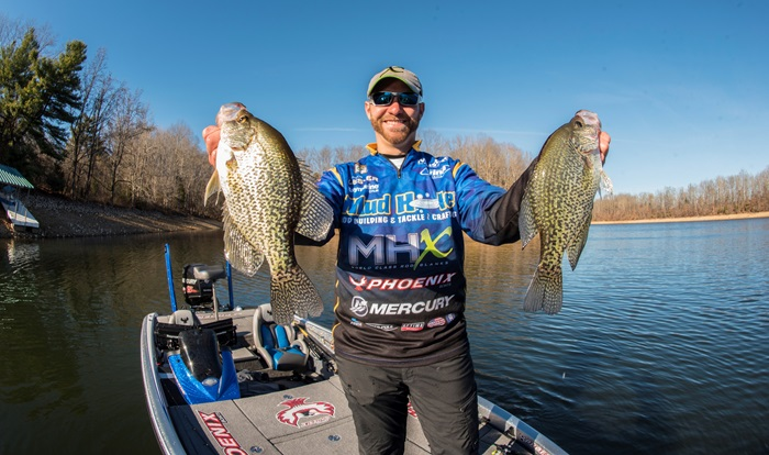 Pro Brandon Lester Poses with Two Crappie